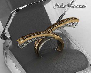 انگشتر جواهر ضربدری مدرن