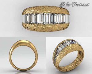 انگشتر حلقه رینگ جواهر با سنگ باگت