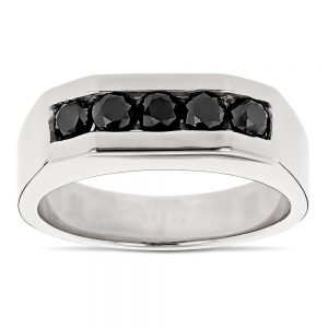 انگشتر طلای مردانه مدل آلگارو با سنگ الماس
