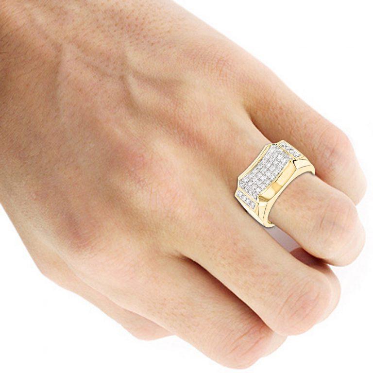 انگشتر طلای مردانه مدل وخش با سنگ الماس