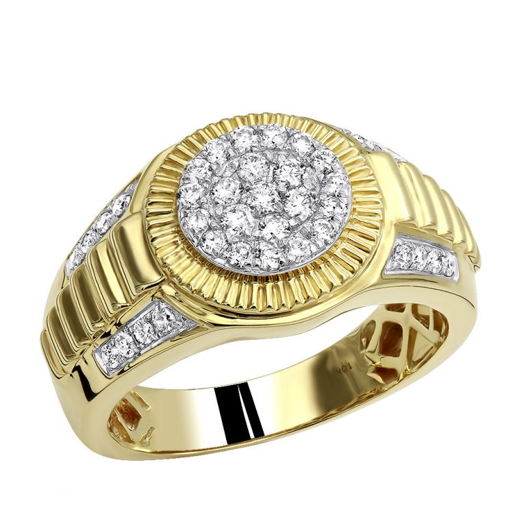 انگشتر طلا مردانه مدل رولکسی بازو جواهر