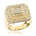 انگشتر طلا مردانه مدل هرمس با الماس