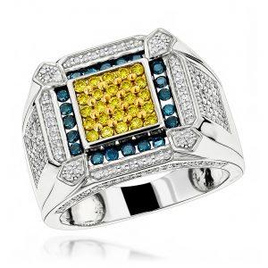 انگشتر طلای مردانه مدل آتاش با سنگ الماس