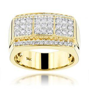 انگشتر طلا مردانه مدل جم با سنگ الماس