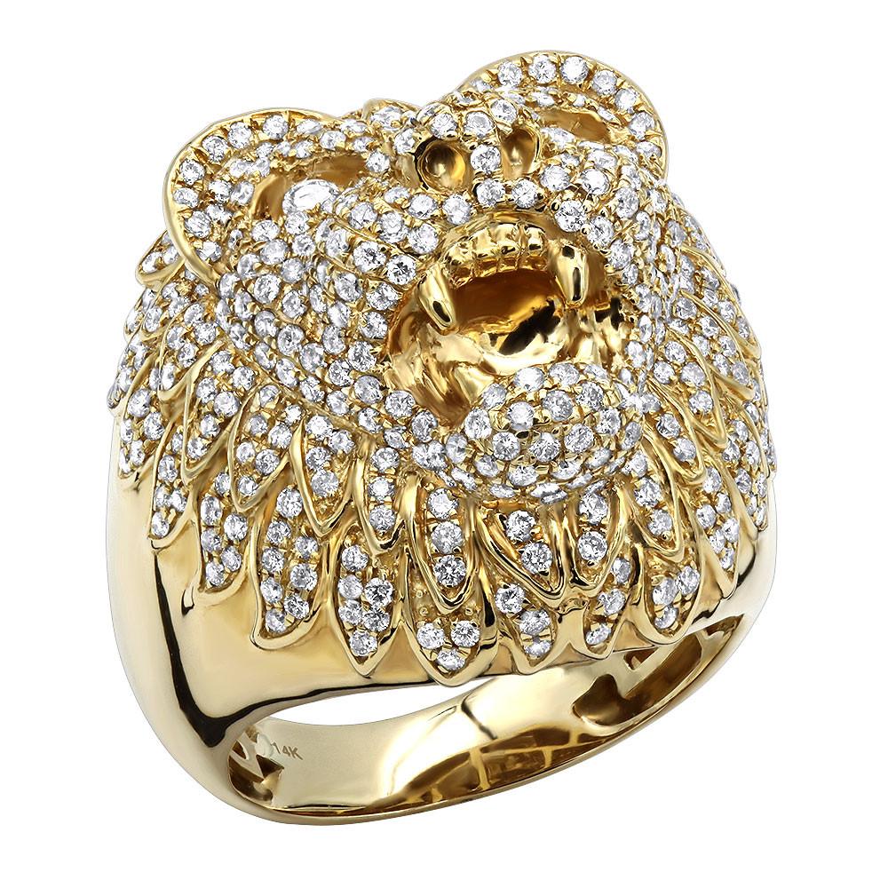 انگشتر طلای مردانه مدل خرس با سنگ الماس