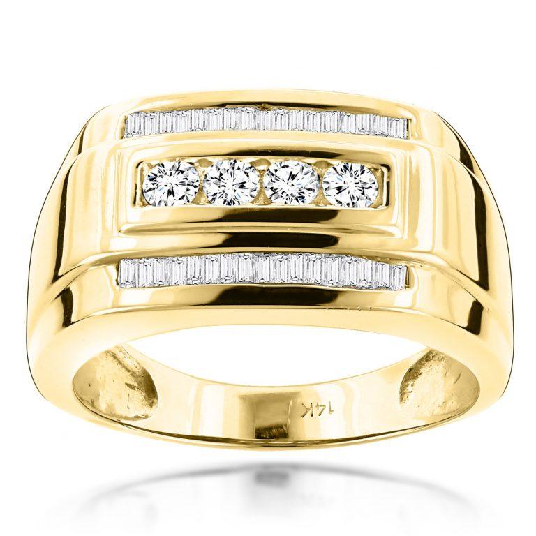 انگشتر طلای مردانه مدل مینوس با سنگ الماس