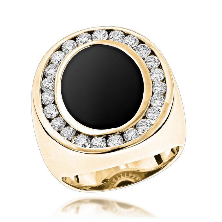 انگشتر طلای مردانه مدل آرجین با سنگ الماس
