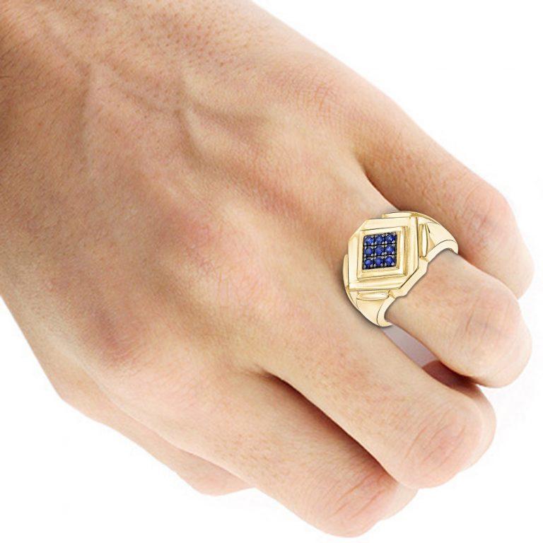 انگشتر طلای مردانه با سنگ یاقوت کبود مدل آرمانا