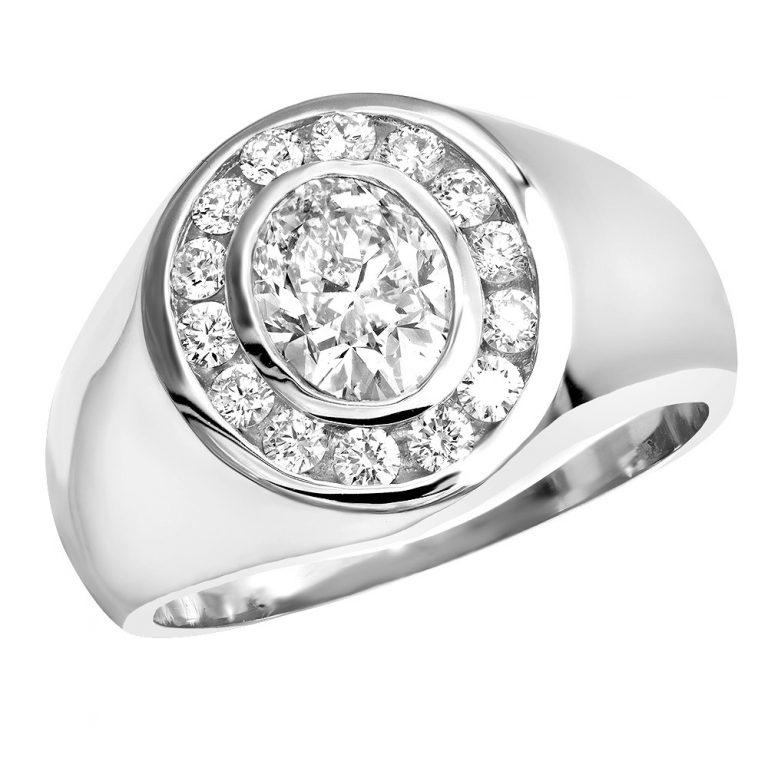 انگشتر طلا مردانه مدل رومانی با سنگ الماس
