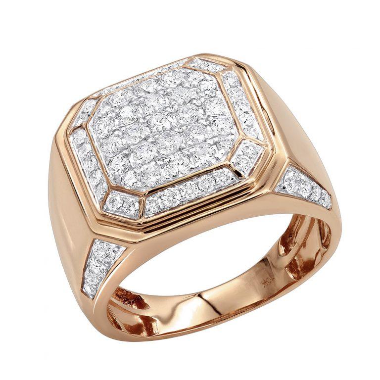 انگشتر طلا مردانه ریمان با سنگ الماس
