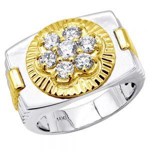 انگشتر جواهر مردانه مدل رولکسی ثابت یک