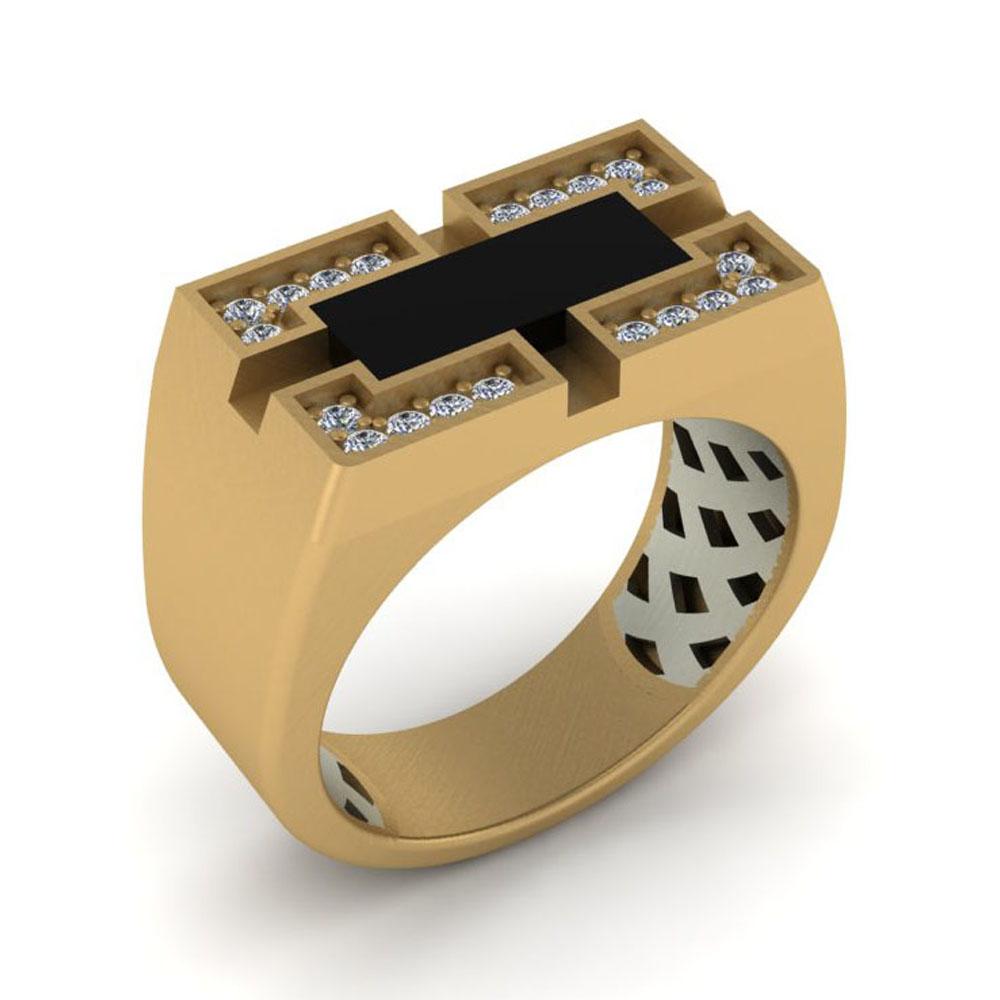 انگشتر طلا مردانه با سنگ اونیکس مدل بردیا