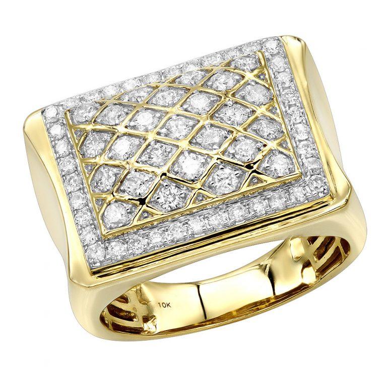 انگشتر طلا مردانه مدل داته با سنگ الماس