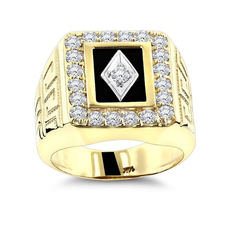 انگشتر طلا مردانه با میناکاری مشکی مدل آرمان