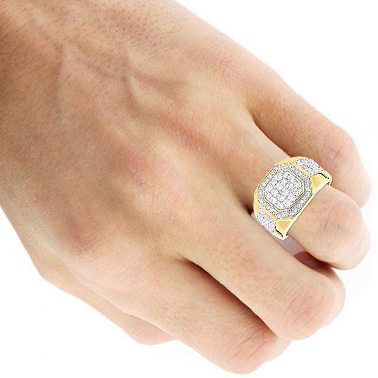 انگشتر جواهر مردانه مدل واته با سنگ الماس