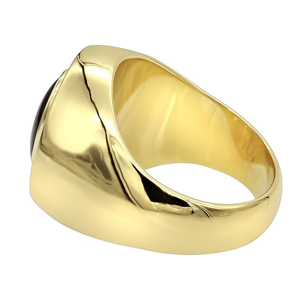 انگشتر طلا مردانه مدل روفی با سنگ اونیکس