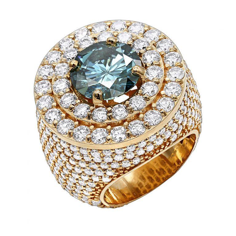 انگشتر طلای مردانه مدل داوون با سنگ الماس