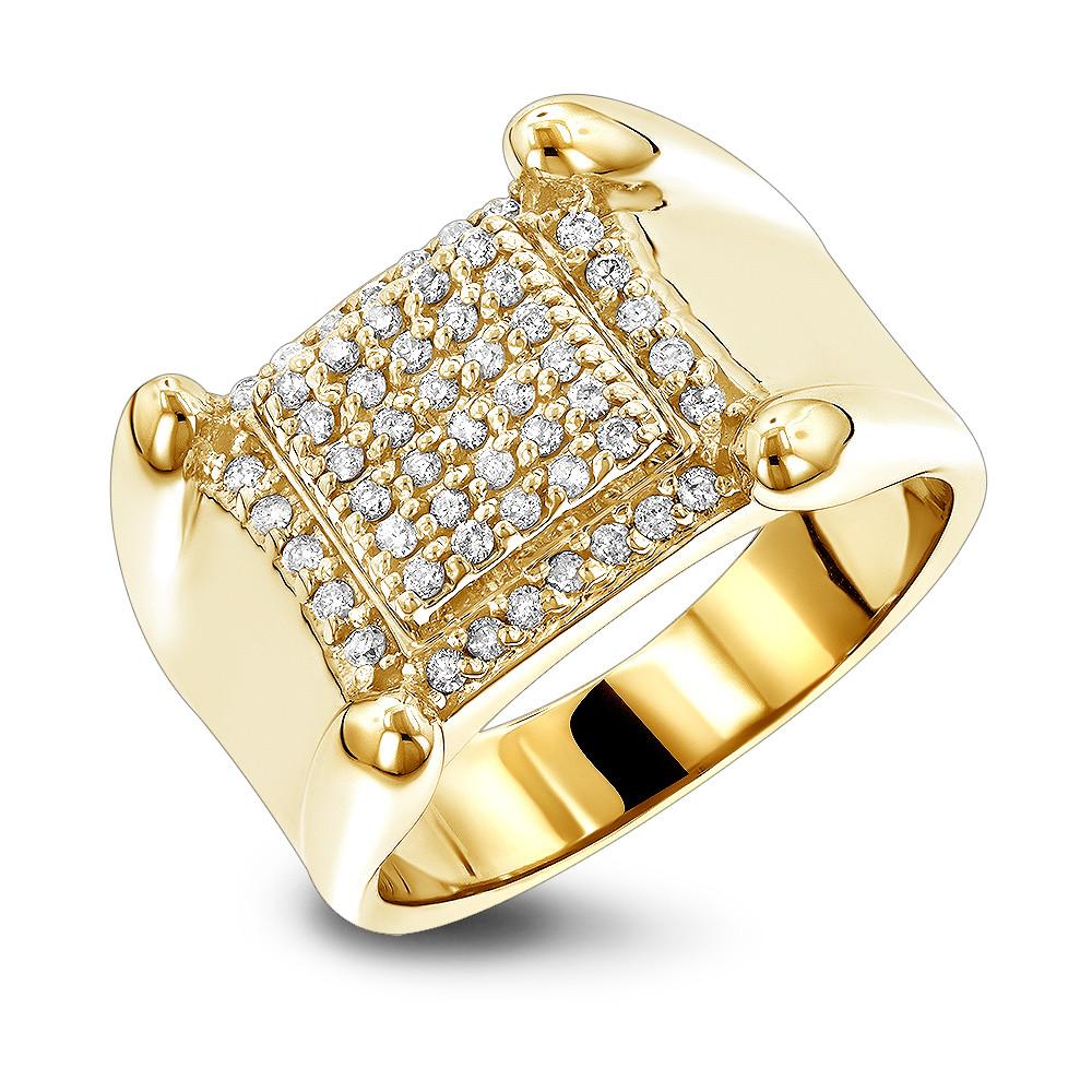 انگشتر طلا مردانه مدل توما با الماس