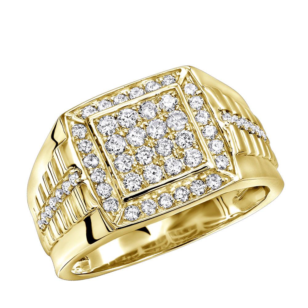 انگشتر طلای مردانه مدل موریان با الماس