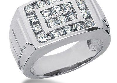 انگشتر جواهر مردانه مدل اوتانا با سنگ الماس