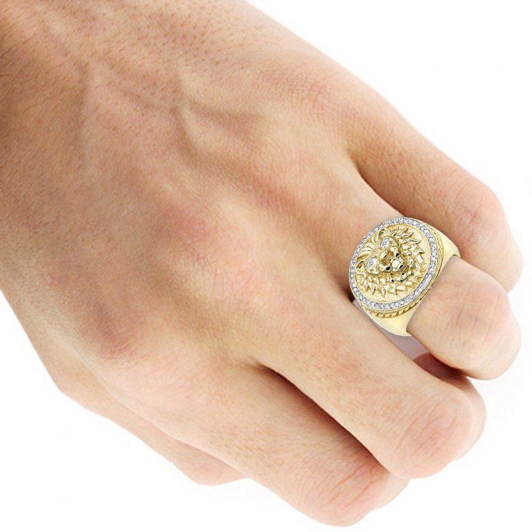 انگشتر طلا مردانه مدل شیر با سنگ الماس