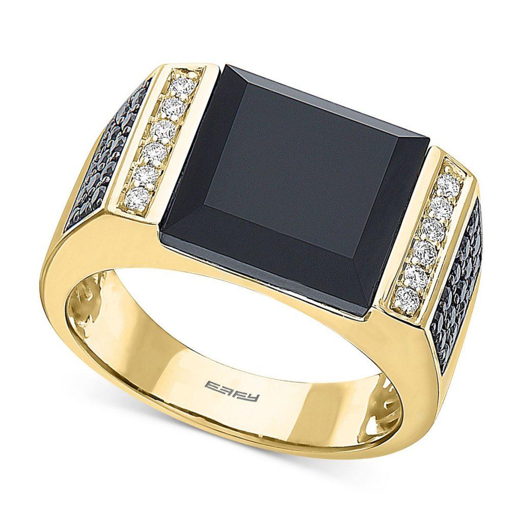 انگشتر طلا مردانه مدل ایکات با سنگ اونیکس و الماس