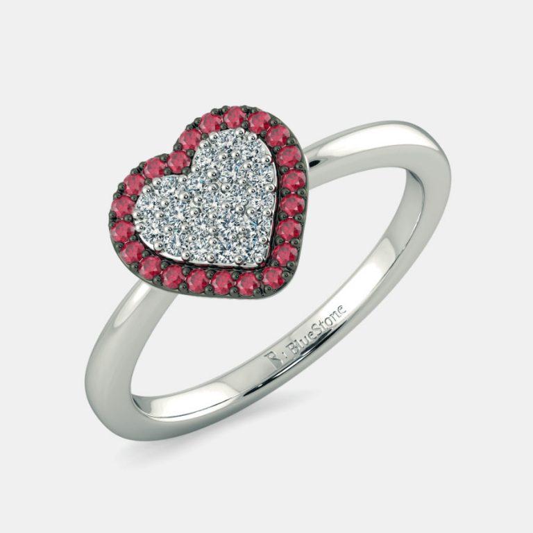 انگشتر طلا زنانه مدل قلب دو رنگ