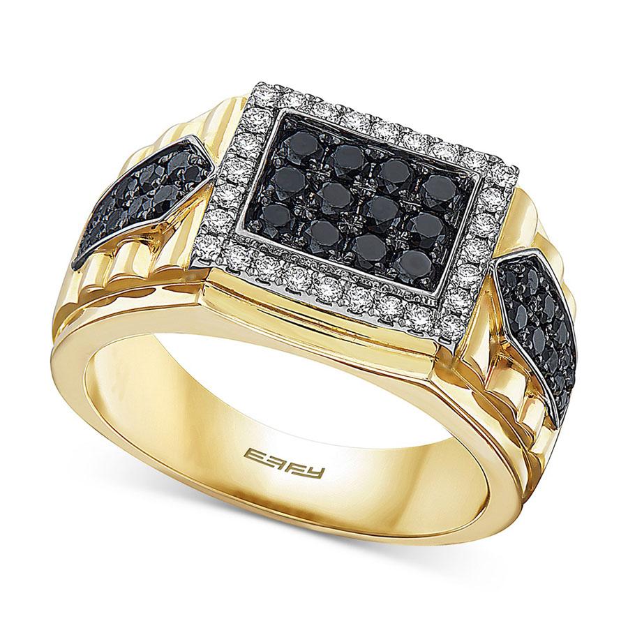 انگشتر طلا مردانه رویالین با سنگ الماس سیاه