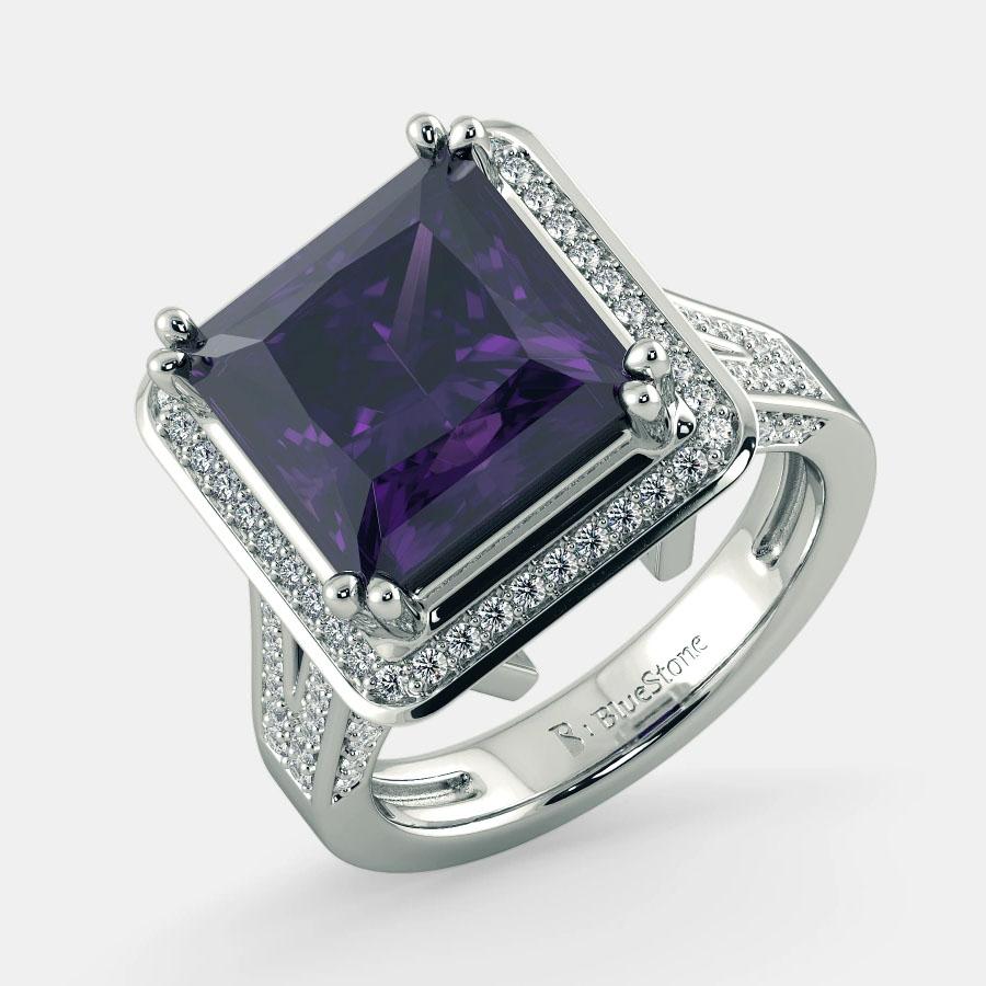 انگشتر طلا زنانه مدل فانین با سنگ الماس و آمیتیس