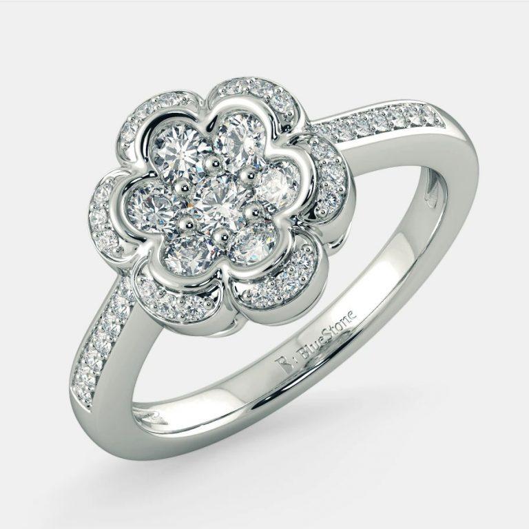انگشتر طلا زنانه مدل هالان با سنگ الماس