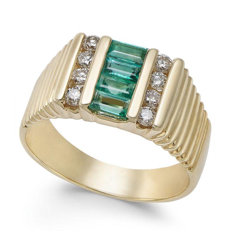 انگشتر طلا مردانه مدل لیما با سنگ زمرد و الماس