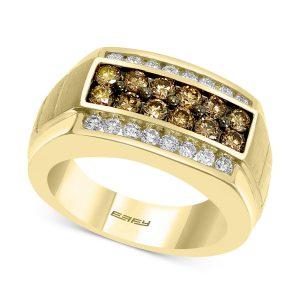 انگشتر طلا مردانه با سنگ الماس مدل لامون