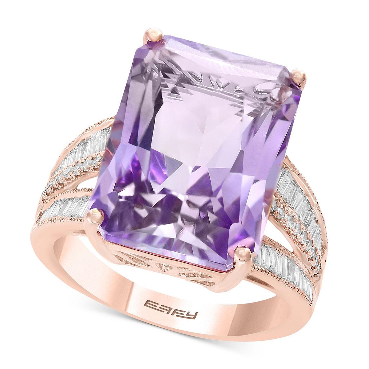 انگشتر طلا زنانه مدل حوران با سنگ آمیتیس و الماس