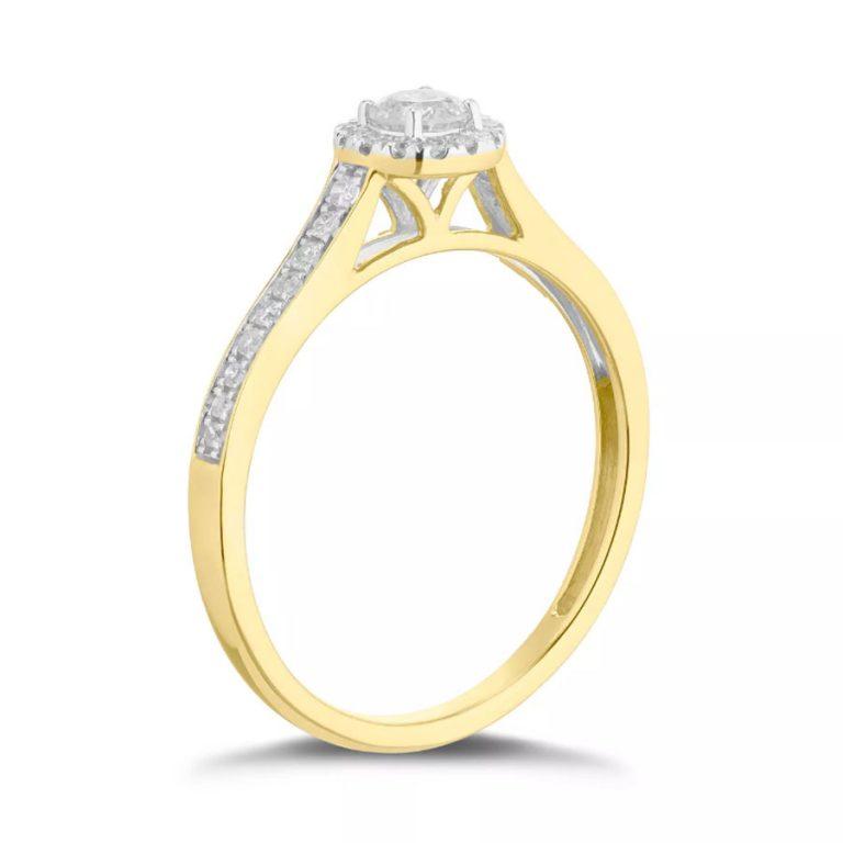 انگشتر طلا زنانه مدل تکمون الماس