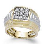 انگشتر طلا مردانه مدل لوکاروی با سنگ الماس