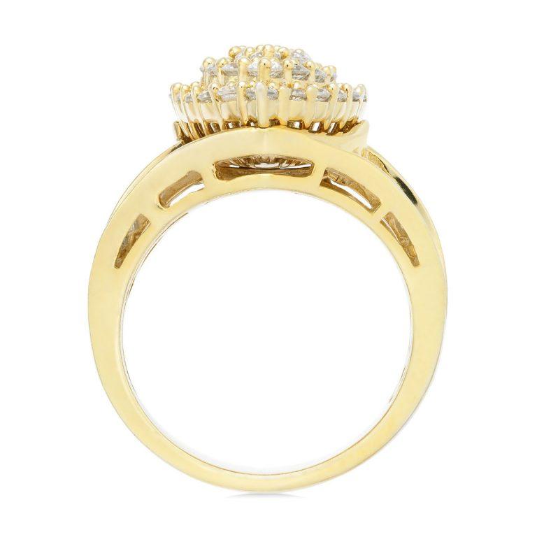 انگشتر طلا زنانه مدل مارمارا با سنگ الماس