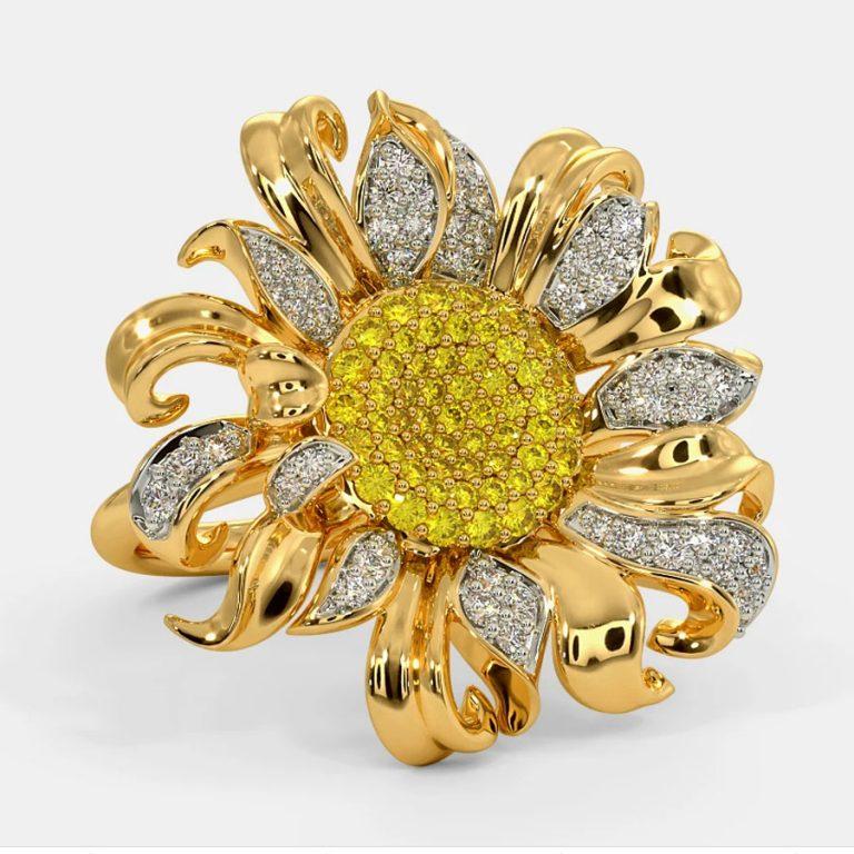 انگشتر طلا زنانه مدا آفتابگردان دو رنگ با الماس