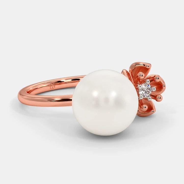 انگشتر طلا زنانه مدل سامروم با سنگ الماس و مروارید