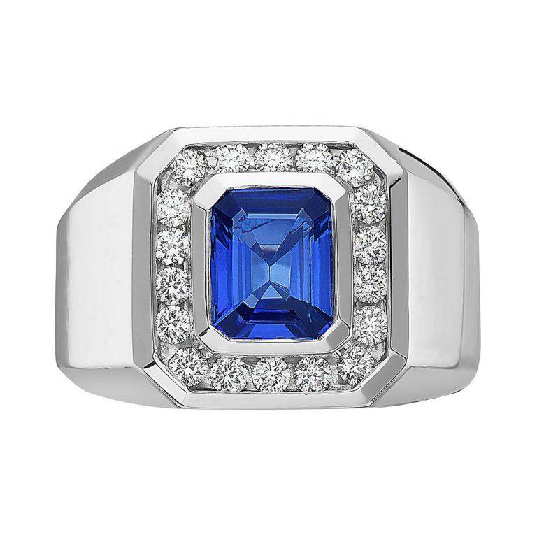 انگشتر طلا مردانه با سنگ تانزانیت و الماس