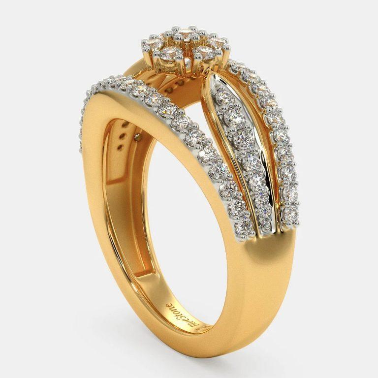 انگشتر طلا زنانه مدل لامیمی با سنگ الماس