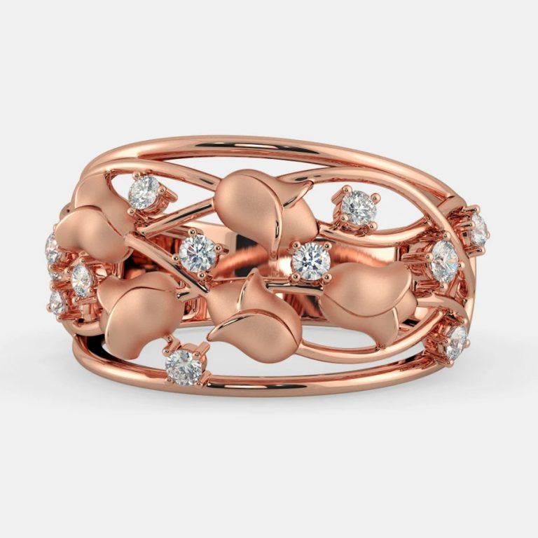 انگشتر طلا زنانه مدل گولان با سنگ الماس