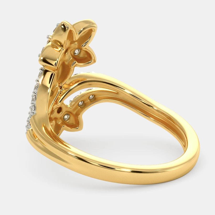 انگشتر طلا زنانه مدل یاهورین با سنگ الماس