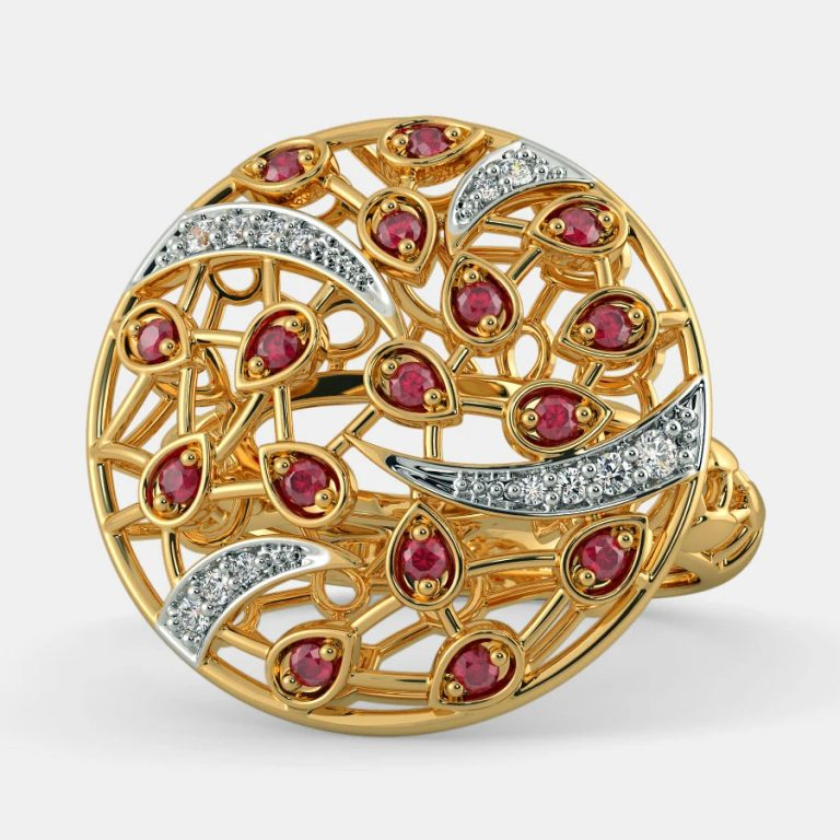 انگشتر طلا مردانه مدل اِمپرا با سنگ الماس و یاقوت