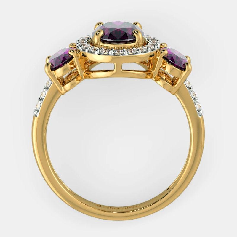 انگشتر طلای زنانه مدل گانیرو با سنگ الماس و گارنت