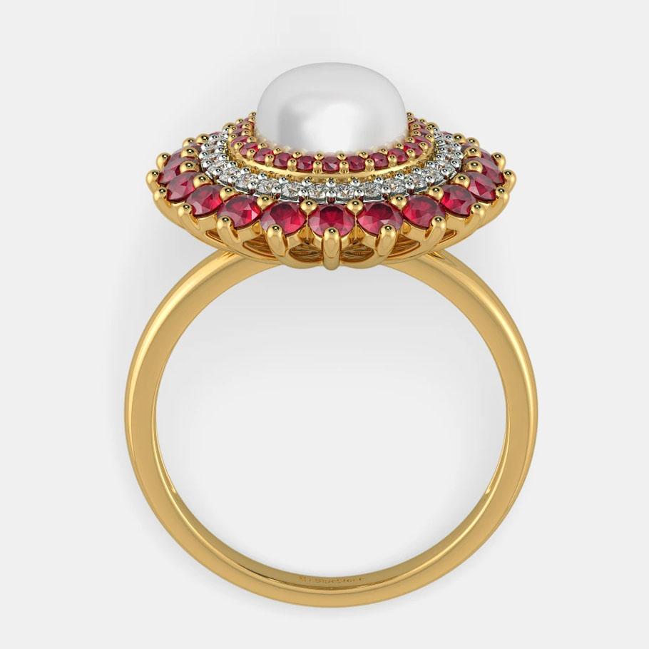 انگشتر طلا زنانه مدل ریبانو با الماس و مروارید
