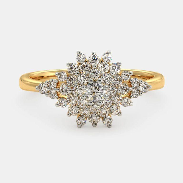 انگشتر طلا زنانه مدل روجا با سنگ الماس