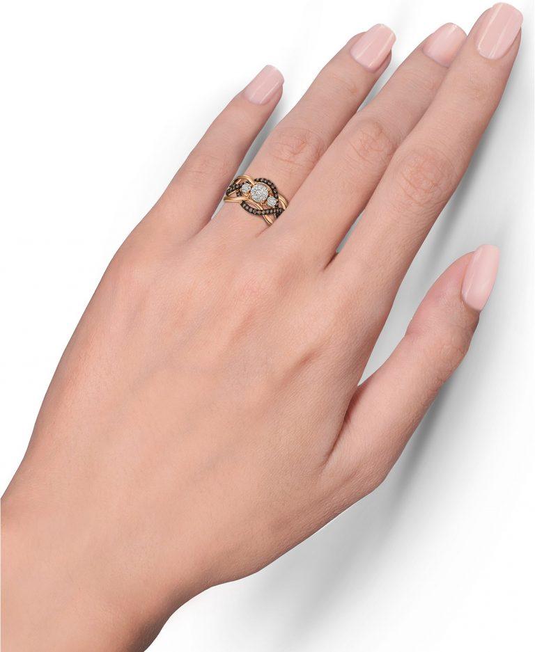 انگشتر طلا زنانه مدل رومینا با الماس سفید و بروان