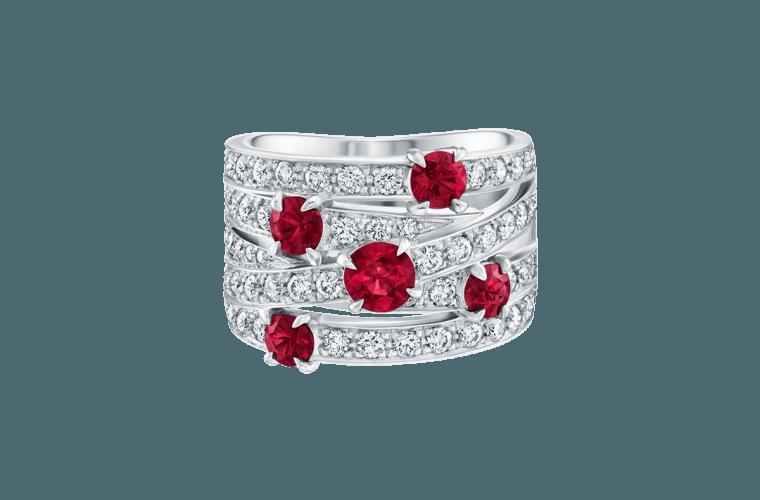 انگشتر جواهر زنانه مدل کاناما با سنگ یاقوت سرخ