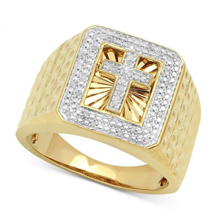 انگشتر طلا مردانه مدل صلیب جواهردار