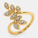 انگشتر طلا زنانه مدل برگوم با سنگ الماس